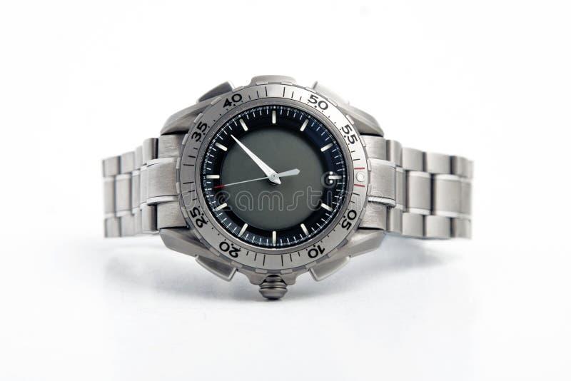 widok frontowy srebny zegarek zdjęcie stock
