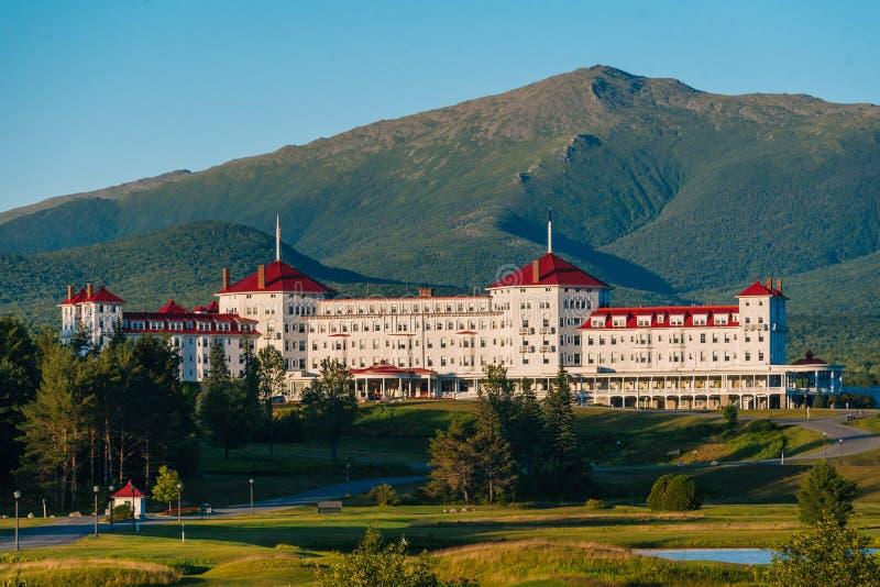 Widok góra Waszyngtoński hotel w Białych górach New Hampshire, fotografia royalty free