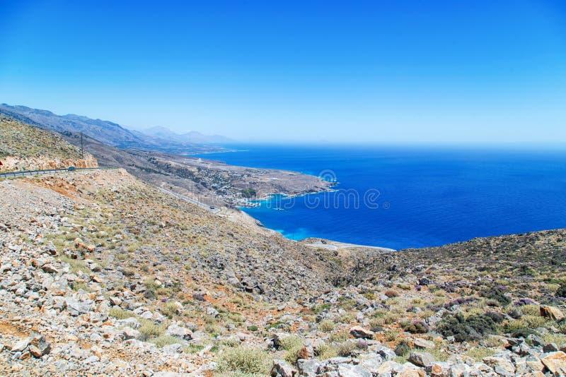 Widok górski na Ilingas, Chora Sfakion, Crete, Grecja obraz royalty free