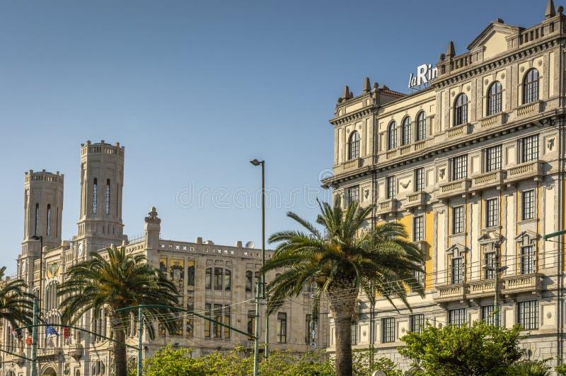 Widok główna ulica Przez Roma, widok na urząd miasta i fotografia royalty free
