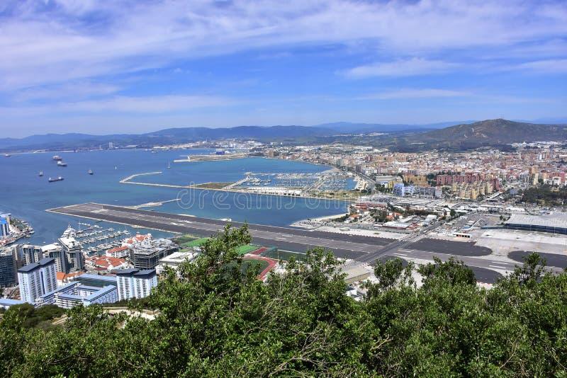Widok Gibraltar lotnisko międzynarodowe obrazy stock