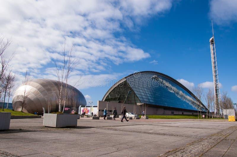 Widok Glasgow nauki muzeum i Imax kino zdjęcie stock