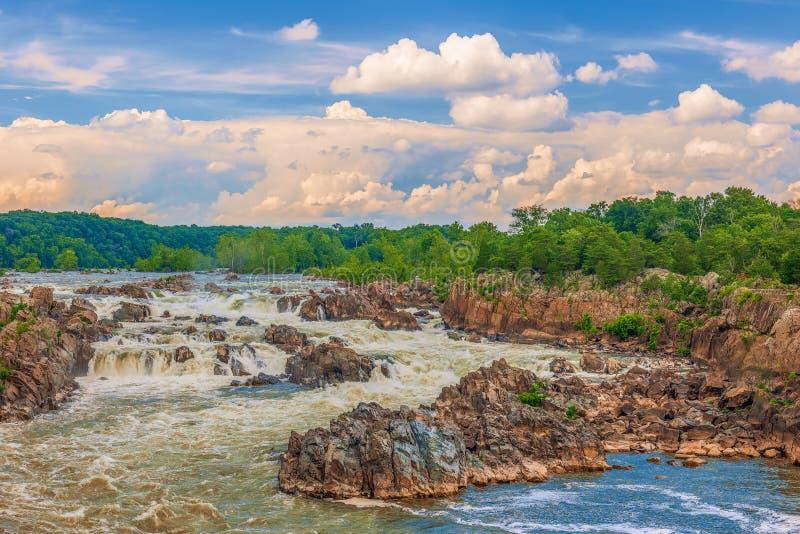 Widok Great Falls Potomac rzeka dziewictwo USA fotografia stock