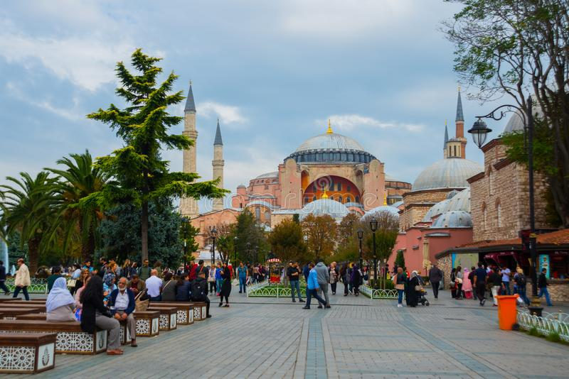 Widok Hagia Sophia, Chrześcijańska patriarchalna bazylika, cesarski meczet i muzeum, teraz Istanbuł, Turcja fotografia royalty free