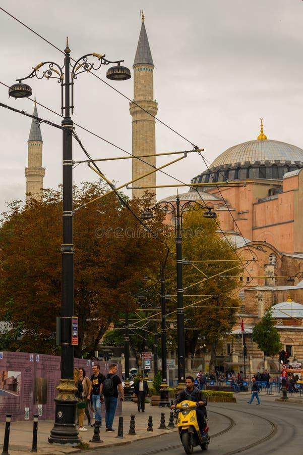 Widok Hagia Sophia, Chrześcijańska patriarchalna bazylika, cesarski meczet i muzeum, teraz Istanbuł, Turcja zdjęcia royalty free