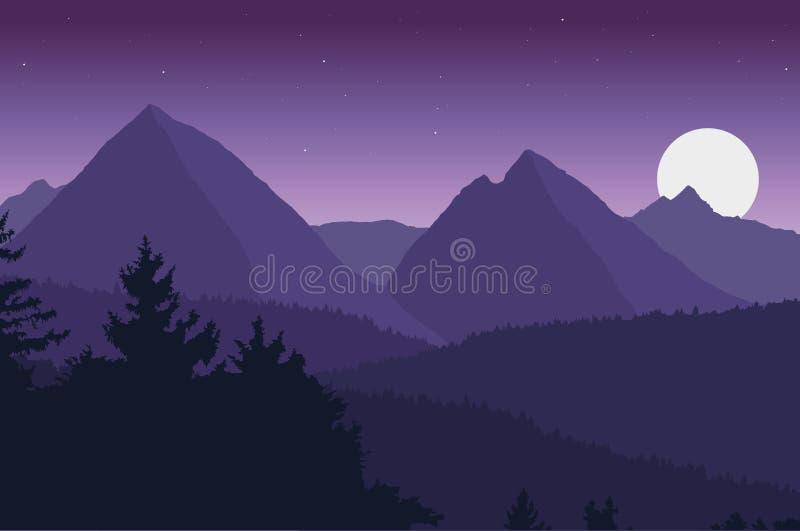 Widok halny krajobraz ilustracji