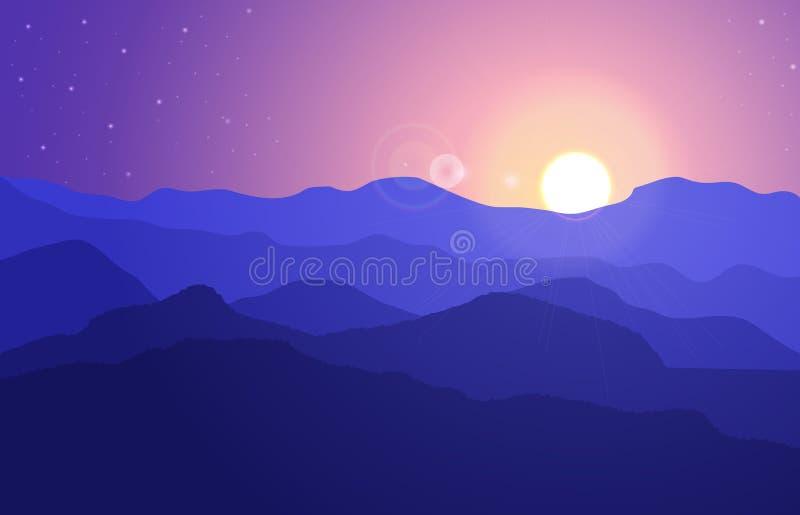 Widok halny krajobraz z wzgórzami pod purpurowym niebem z słońcem i gwiazdami royalty ilustracja