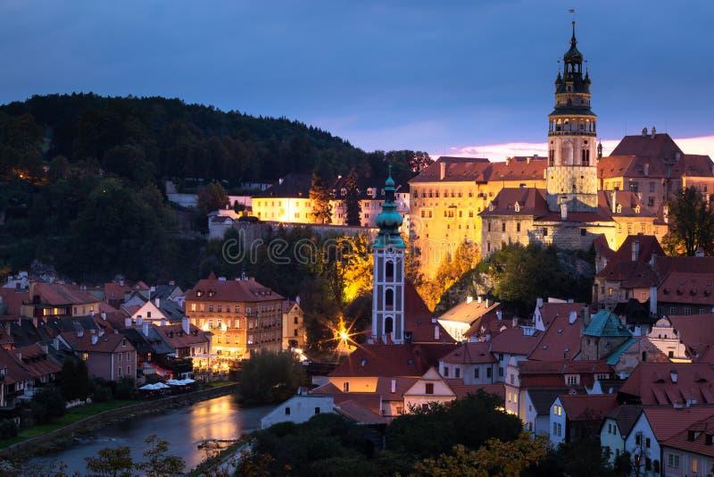 Widok historyczny centrum Cesky Krumlov, republika czech obrazy royalty free