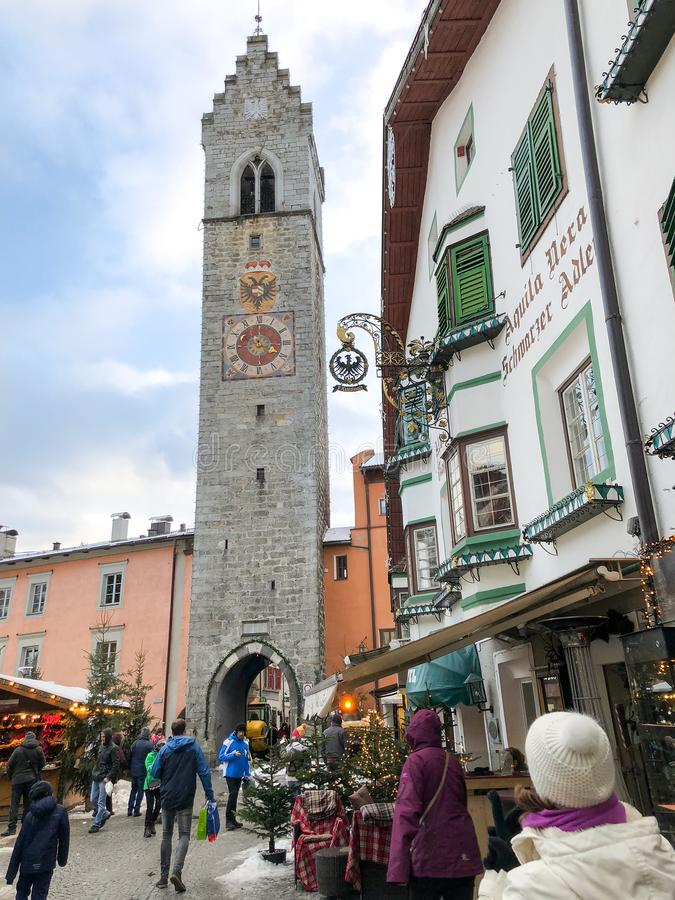 Widok historyczny centrum miasteczko Vipiteno zdjęcia royalty free