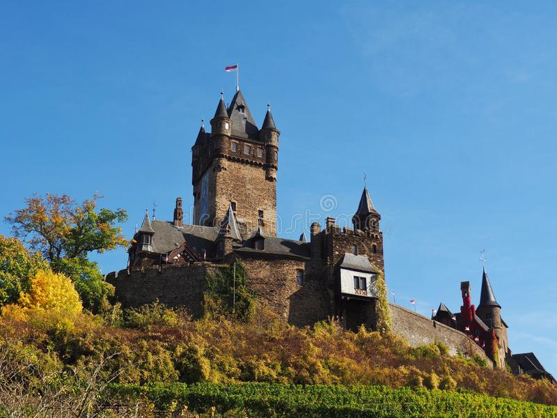 Widok historyczny europejczyka kasztel, Reichsburg Cochem, Niemcy obraz stock