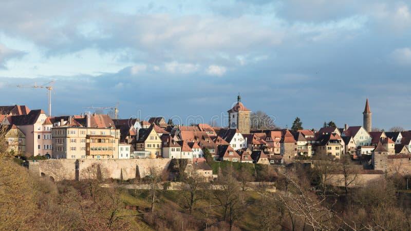 Widok historyczny Niemiecki miasto Rothenburg ob dera Tauber wewnątrz fotografia royalty free