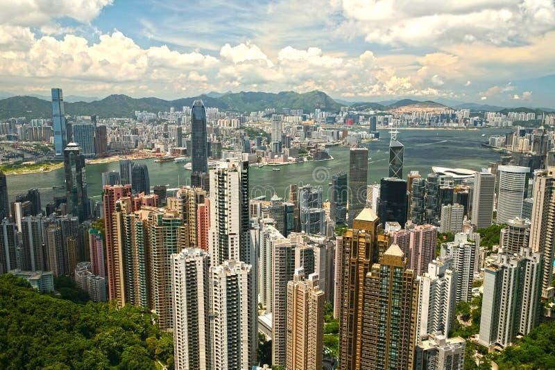 Widok Hong Kong centrum biznesu od Wiktoria szczytu Chiny obraz stock