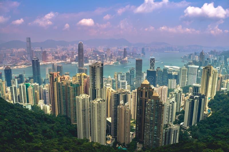 Widok Hong Kong od Wiktoria szczytu obrazy royalty free
