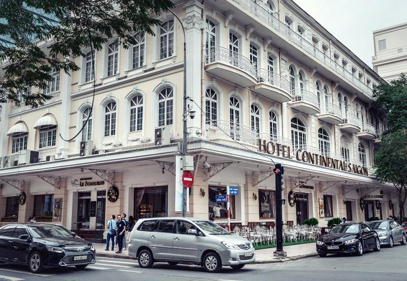 Widok Hotelowy Kontynentalny Saigon- nowożytny i klasyczny budynek w Ho Chi Minh mieście, Dong zdjęcia stock
