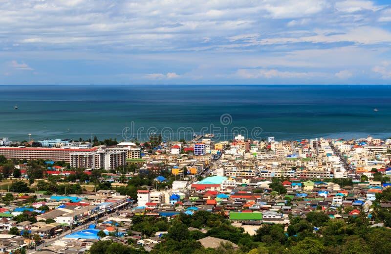 Widok Hua Miasto, Prachuapkhirikhan, Tajlandia zdjęcia stock