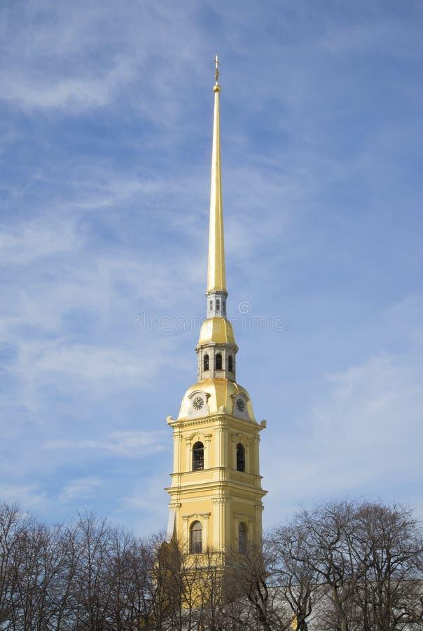 Widok iglica Peter i Paul wiosna Katedralny dzień St Petersburg fotografia stock