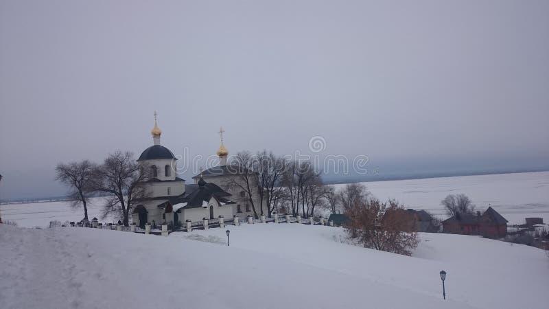 Widok iluminuj?cy Kremlin w zima wiecz?r, Kazan, Rosja obraz stock