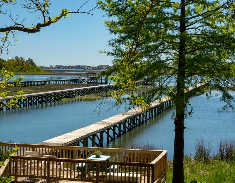 Widok Intracoastal Waterway z Plaży w Wrightsville obraz stock