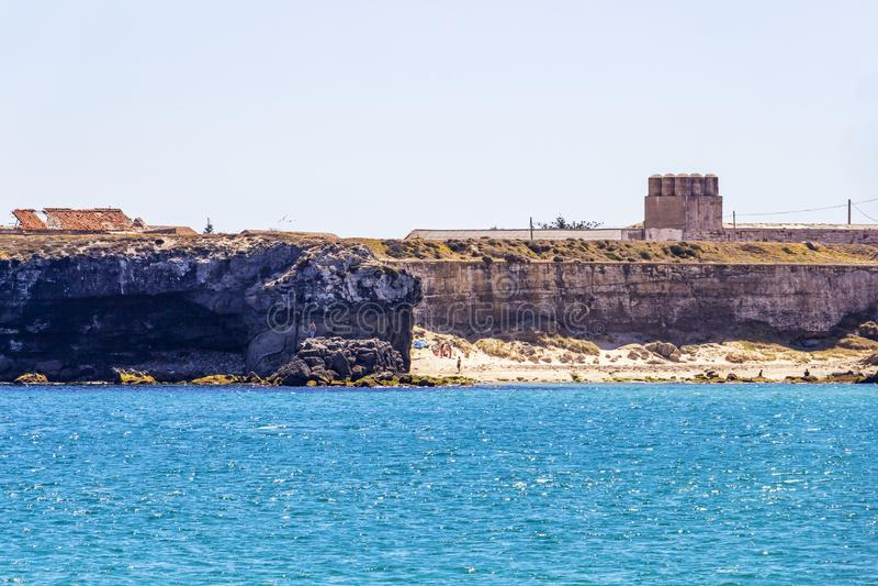 Widok Isla De Las Palomas, Andalusia, Hiszpania fotografia stock