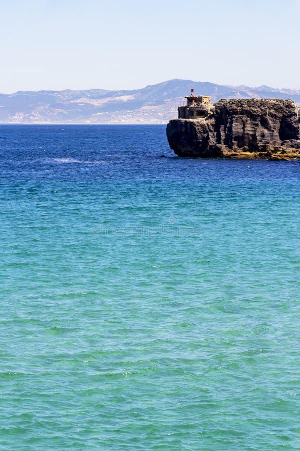 Widok Isla De Las Palomas, Andalusia, Hiszpania obraz stock