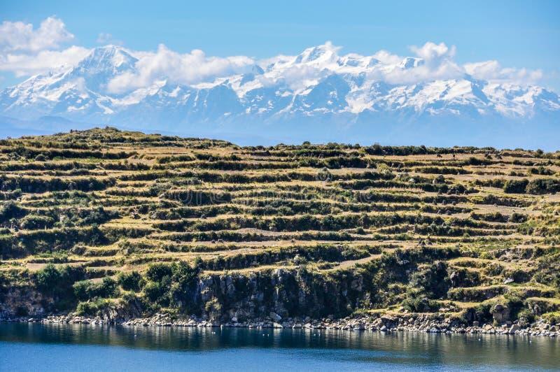 Widok Isla Del Zol na Jeziornym Titicaca w Boliwia obraz royalty free