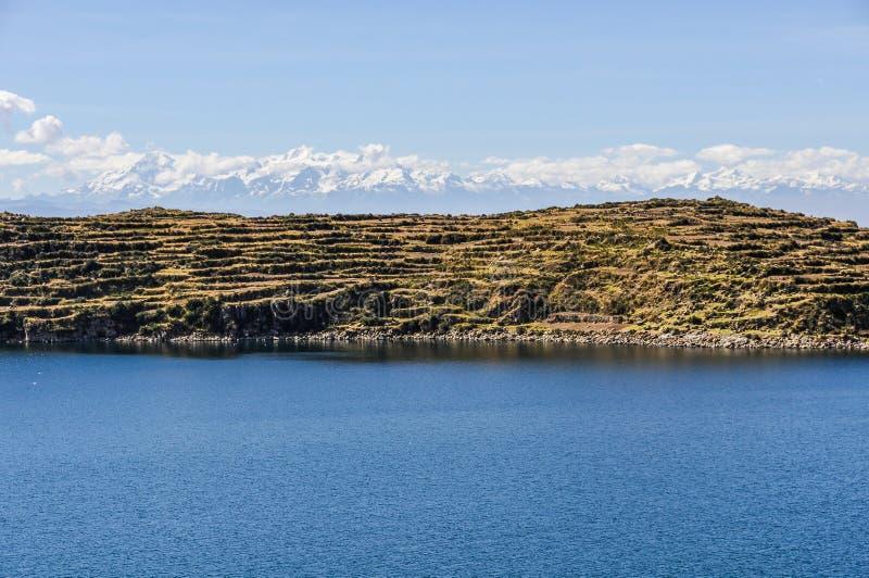 Widok Isla Del Zol na Jeziornym Titicaca w Boliwia fotografia stock