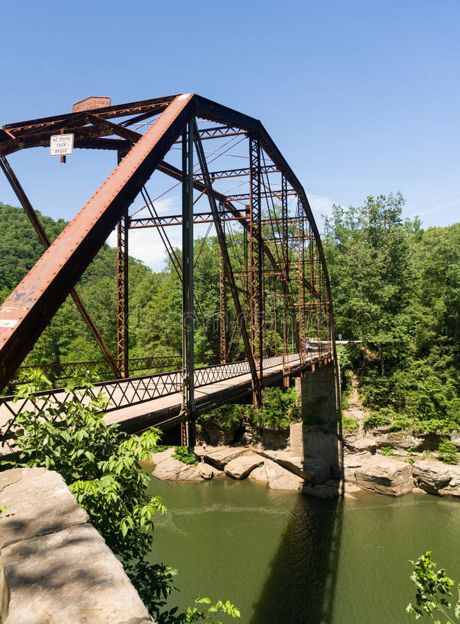 Widok Jenkinsburg most nad nabranie rzeką zdjęcia stock