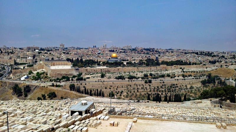 Widok Jerozolima Od góry oliwki, Izrael zdjęcia royalty free