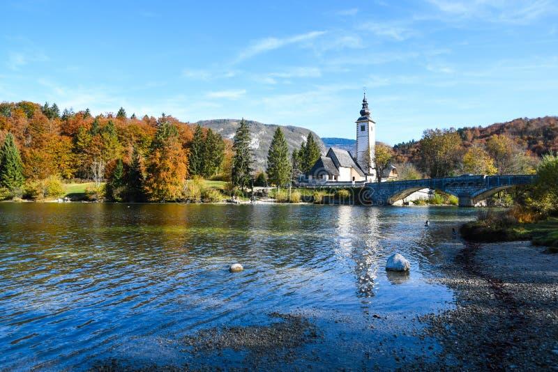 Widok jesienny w Bohinj, Słowenia obrazy stock