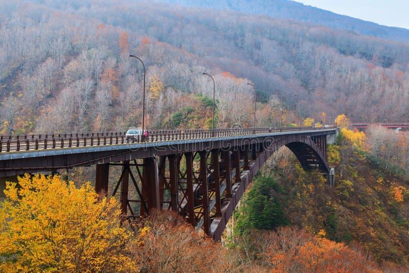 Widok Jogakura bridżowa i kolorowa góra w jesień sezonie, Ao zdjęcia stock