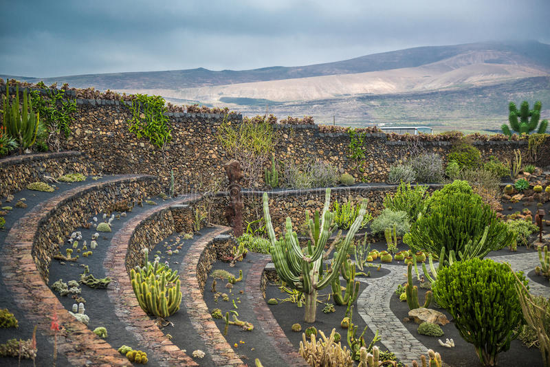 Widok kaktusa ogród, Lanzarote obraz stock