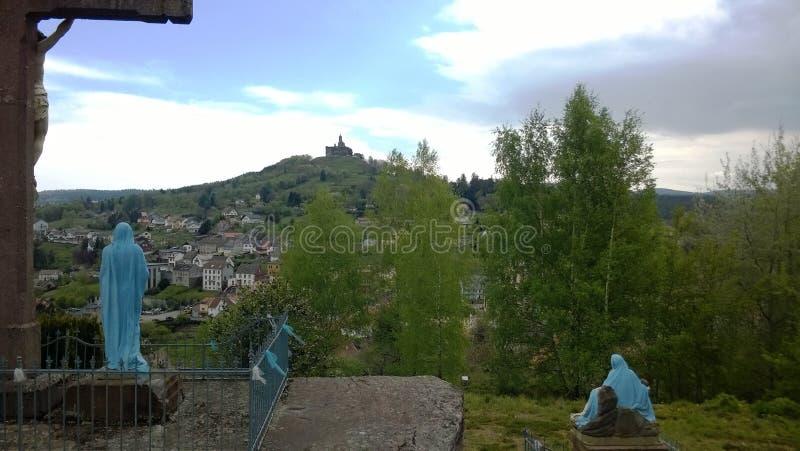 Widok Kalwaryjski na skale Dabo w Moselle Miejsce klasyfikuj?cy od 1935 zdjęcie stock