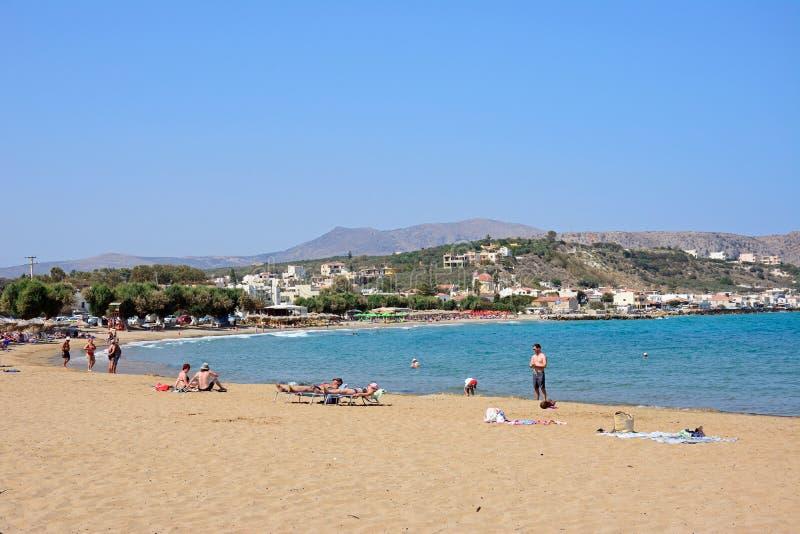 Widok Kalyves plaża, Crete zdjęcia stock