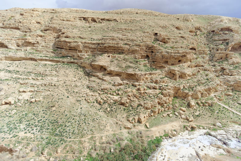 Widok kamienisty jar w Judejskiej pustyni blisko Betlejem Izrael obrazy royalty free