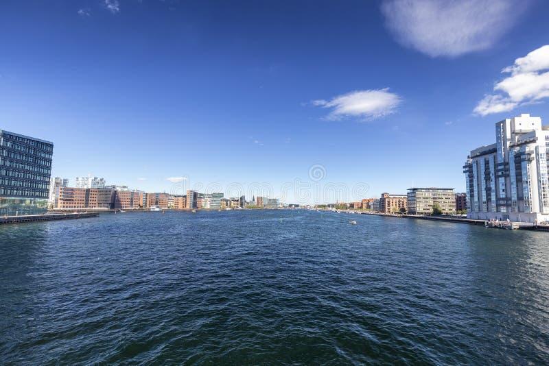 Widok kanał w Kopenhaga obraz stock