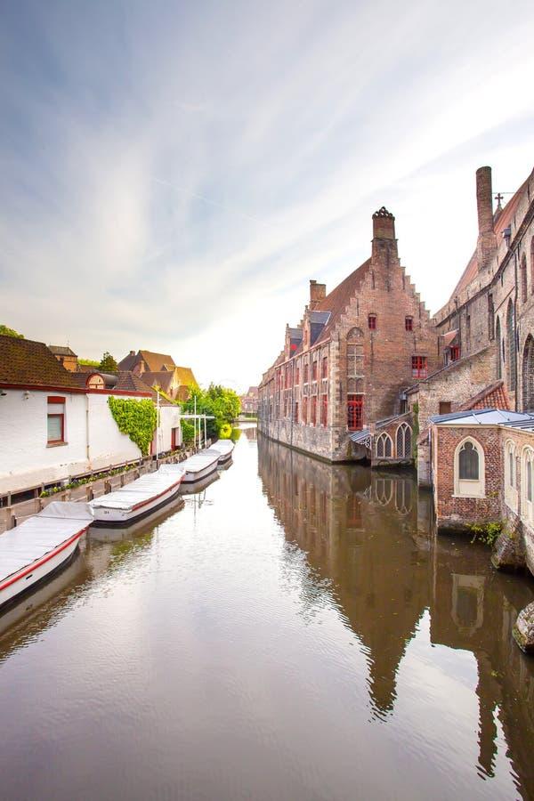 Widok kanały w Bruges, Belgia obraz royalty free