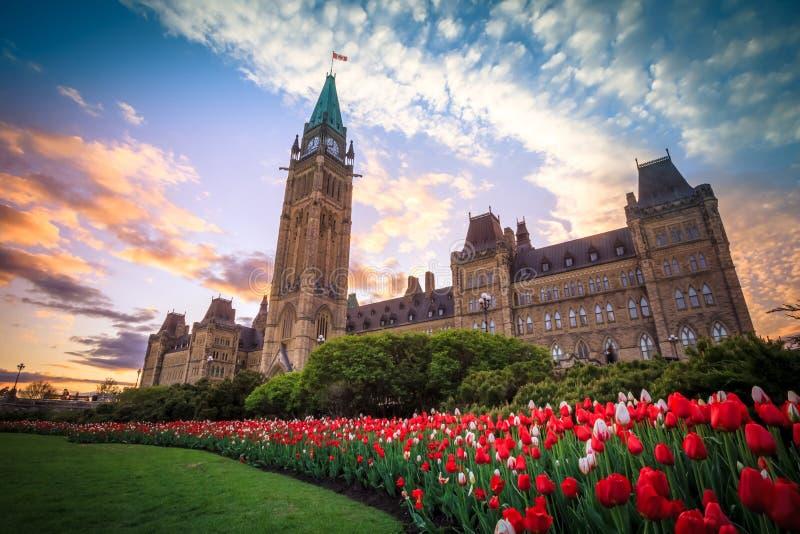 Widok Kanada parlamentu budynek w Ottawa zdjęcia stock