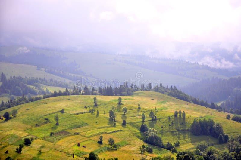 Widok Karpackie góry, nasłoneczniony zbocze, słoneczna mgiełka obraz stock
