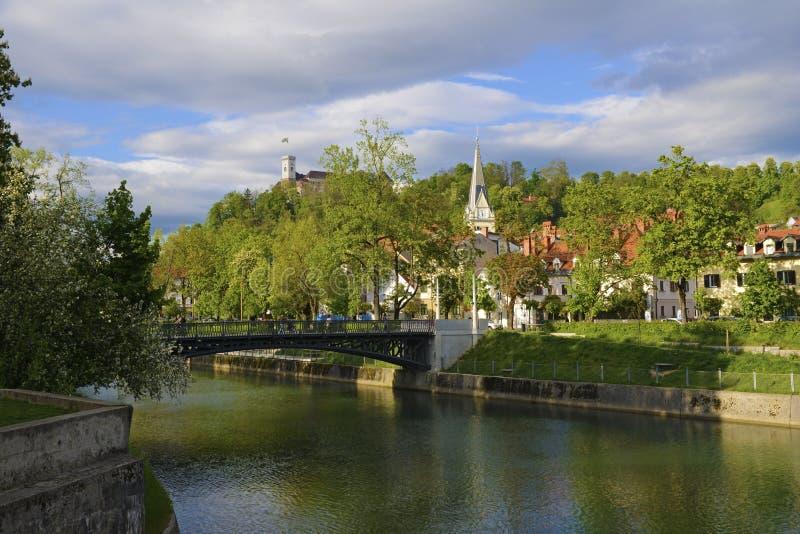 Widok kasztel nad rzeczny Ljubljanica, Ljubljana, Slovenia zdjęcie royalty free