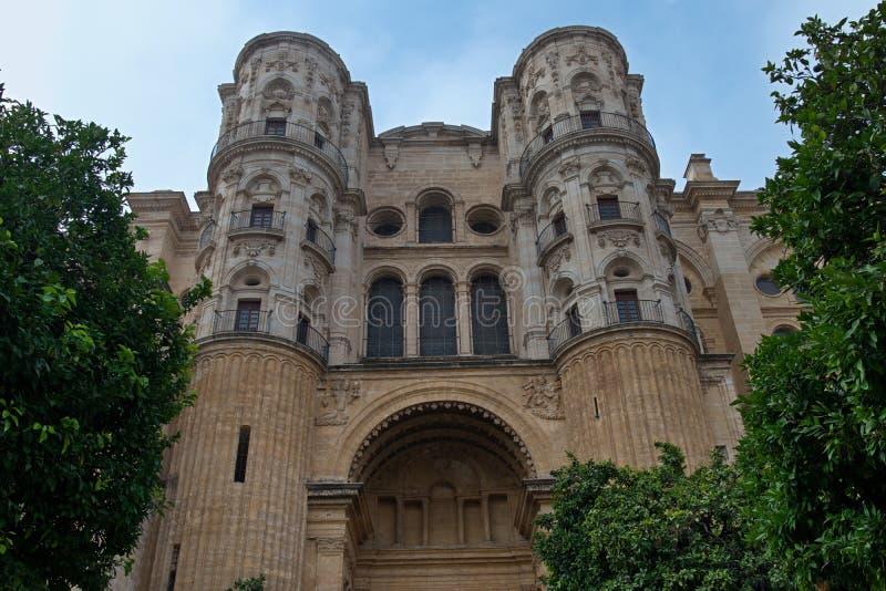 Widok katedra Malaga, Andalusia, Hiszpania zdjęcia stock