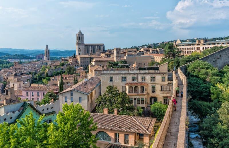 Widok katedra w Girona, Hiszpania fotografia royalty free