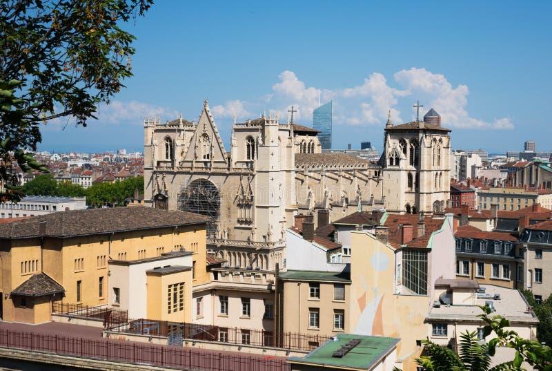 Widok Katedralny Jean De Lion kościół rzymsko-katolicki lokalizować w Lion Francja zdjęcia royalty free