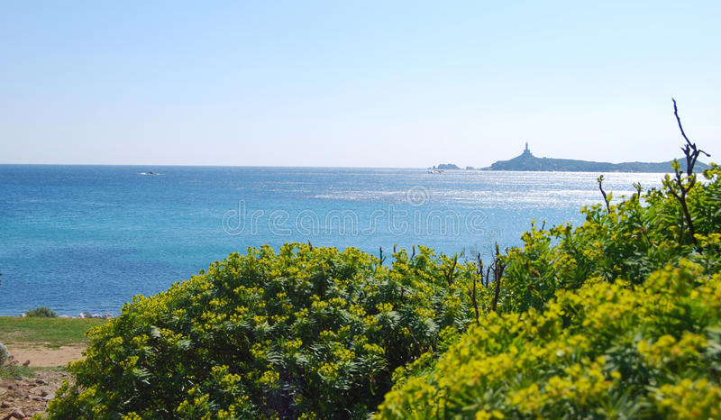Widok kawałek kolorowa natura w Villasimius (Sardinia) zdjęcie stock