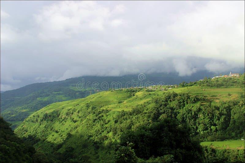 Widok Khyoubu mai wioska, Senapati obrazy stock