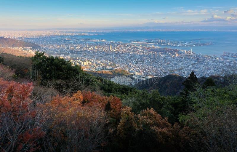 Widok kilka Japońscy miasta w Kansai regionie od Mt Ma fotografia royalty free