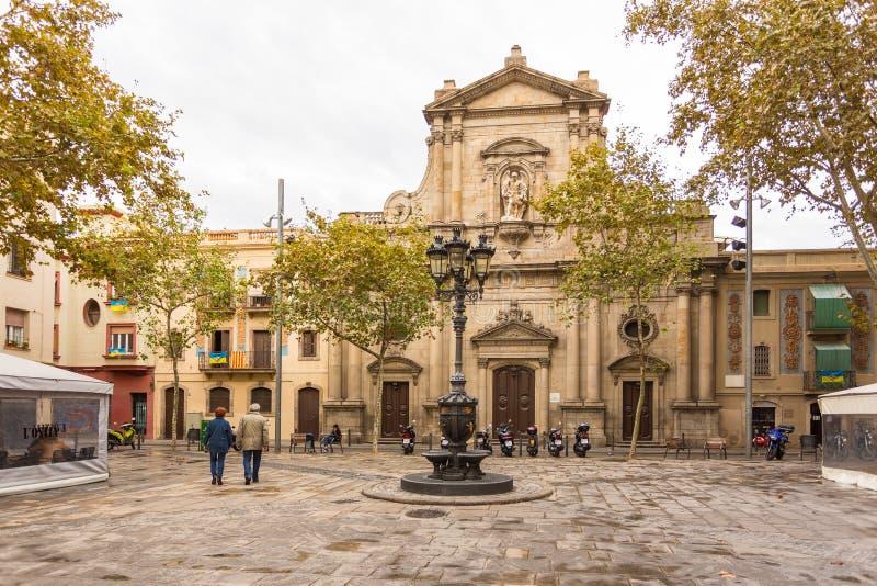 Widok kościół katolicki Sant Miquel Del Przesyłający, Barcelona, Hiszpania obraz stock