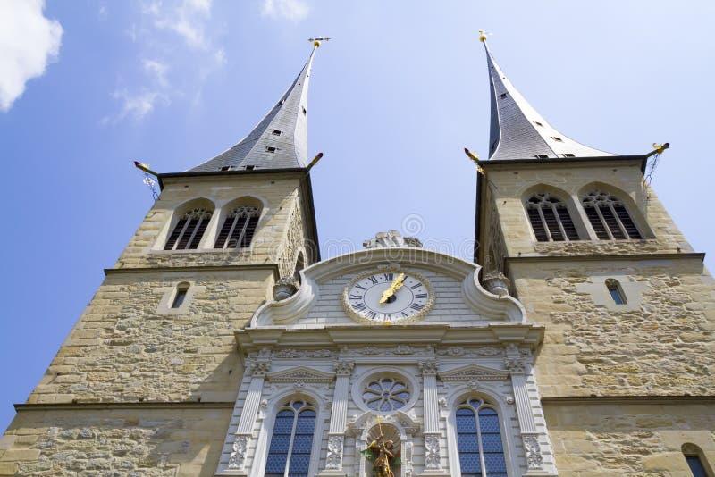 Widok kościół na cześć patron lucerna w Szwajcaria zdjęcie royalty free