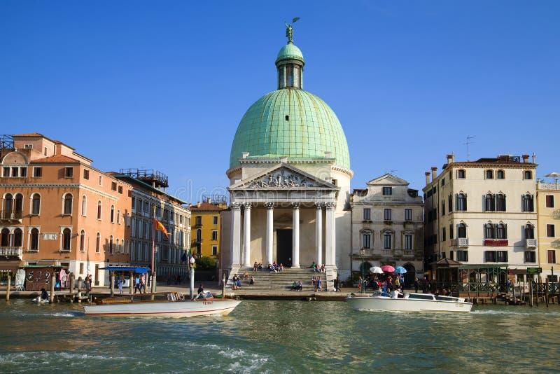 Widok kościół San Simeon flecik na Grand Canal bulwarze, Wenecja zdjęcia stock