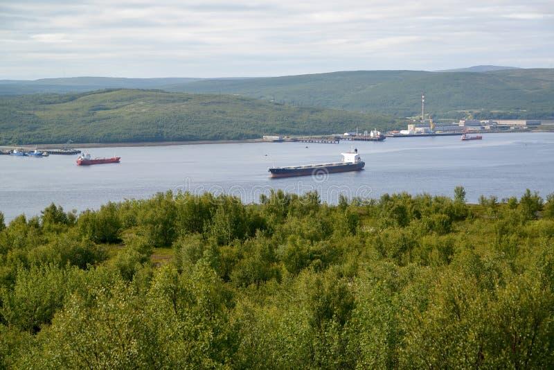 Widok Kola zatoka od przylądka Verde murmansk fotografia royalty free