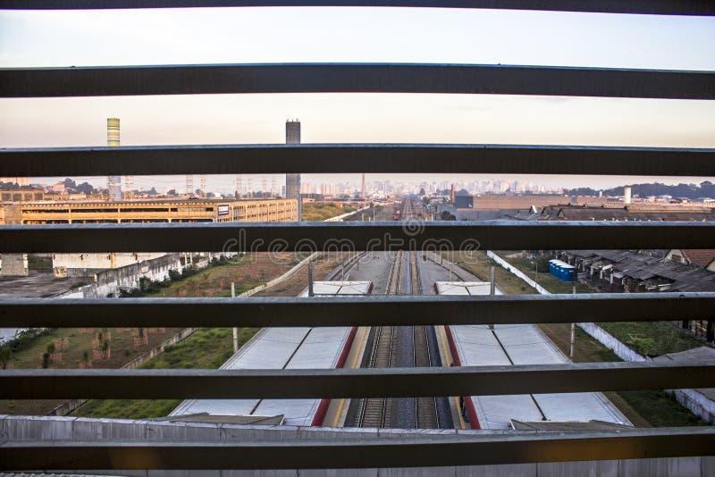 Widok Kolejowi ślada i platforma Tamanduatei stacja obrazy stock